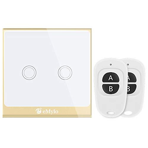 Interruptor de luz inteligente Wifi, eMylo Touch Inteligencia inalámbrica Interruptores de pared...
