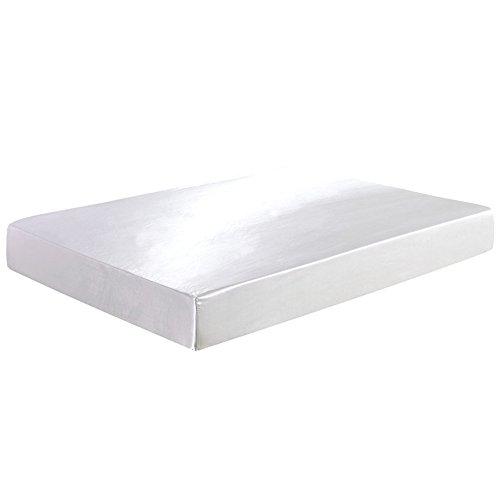 Enjoygoeu Spannbettlaken Bettlaken Spannbetttuch Satin Seide Bettwäsche Superweich Luxus für Schlafzimmer (Weiß, 180 x 200 cm) (Luxus-bettwäsche)