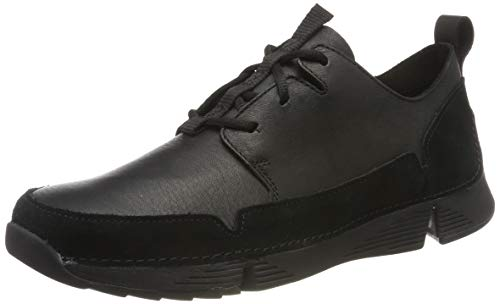 Clarks Men's Tri Solar Sneaker, Schwarz (Black Leather), 42.5 EU