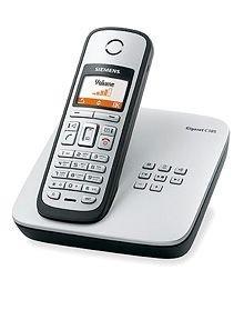 Siemens Gigaset C385 ECO schnurloses DECT Telefon mit beleuchtetem Farbdisplay und integriertem Anrufbeantworter, titanium -