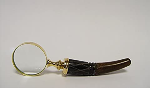 Magnifying Glass Gold Wood Dual Purpose Increase Nostalgie Reading Magnifier Glass for Stamps