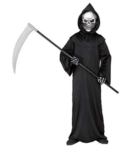 Maske Warlord Kostüm - 24costumes Sensenmann Kostüm |geeignet für Kinder von 5-13 Jahre | inkl. Sense 107cm lang: Größe: 128