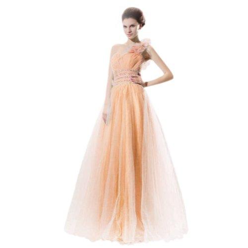 Lemandy robe de soirée A-line tulle longueur ras du sol épaule asymétrique comme la photo
