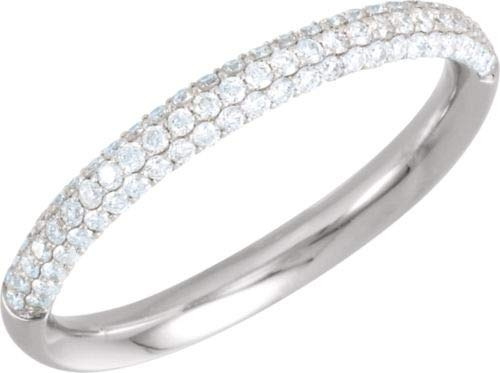 14K White Gold 3/8 ctw Diamond Pave Anniversary Band Ring - Size 6