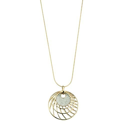 """9ct Yellow Gold Cage/Disc Pendant and 18"""" Snake Chain Necklace with 0.10ct Genuine Diamonds"""