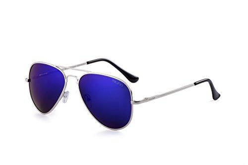 Miuno® Sonnenbrille Polarisiert Polarized Herren Damen Geschenkbox & Brillentuch Aviator Federscharnier 3025 Silbergestell (Blauverspiegelt)