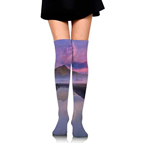 OQUYCZ Woman's Still Lake View with Misty Purple Sunny Sky and Big Mountain on The Warm High Boot Socks
