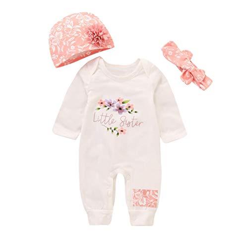 Stirnband Top Kostüm Mütze - sunnymi 2 TLG Baby Mädchen Brief Mama's Mini Me Strampler + Stirnbänder Kostüm Sommer Für 3-18 Monate (Weiß + Hut, 6 Monat)