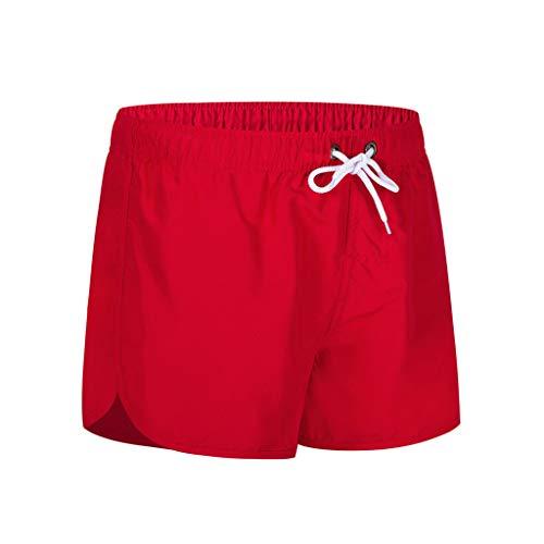 MOTOCO Herren Shorts Badehose schnell trocken Strand Surfen Laufen Schwimmen elastische Taille gespleißt Watershort Hose(2XL,Rot 2)
