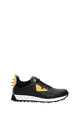 sneakers-fendi-homme-cuir-noir-jaune-et-argent-7e09354r6f046w-noir-39eu