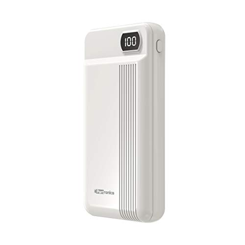Portronics Indo 20D 20000mAh Power Bank with LED Digital Display & Dual Charging Options(White)