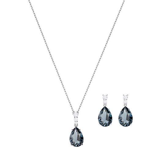 Swarovski Vintage Set für Frauen, grünblaues Kristall, rhodiniert