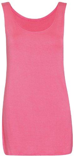 Womens U-ausschnitt ärmellos Damen Lang Softstretch Einfarbige Weste Freizeit Riemchen T-Shirt Top Koralle