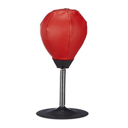Relaxdays Punchingball Tisch, Boxbirne Schreibtisch, Büro Punching Ball, Anti Frust, HxBxT: 35 x 18...