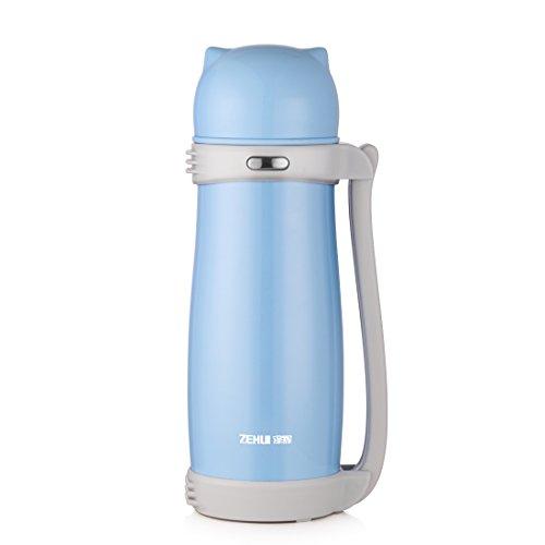 Oneisall Gourde thermos Bouteille 1000 ml/24 heures froid - à double paroi en acier inoxydable et sans BPA -24hrs boissons chaudes d'eau Café Lait Blanc Thermos/Thermos de voyage Bouteille bleu