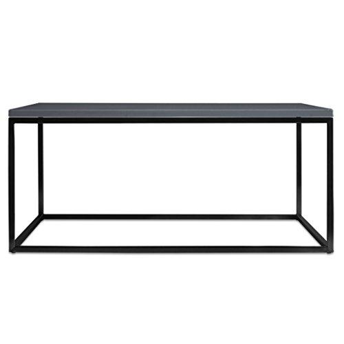 Filigraner Beton-Couchtisch Lacy (Gestell schwarz, Betonplatte dunkelgrau, 60x80 cm) (Beton Tisch)