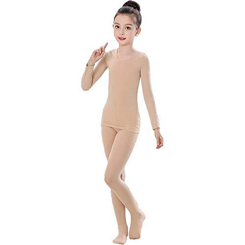 ZooBoo Mädchen Ballett Body Tanzkleidung - Professionelle Tanzbodys Bodysuits Klassische Tänze Übung Kostüm Trikot Strumpfhose Unitard für Kinder Erwachsene (Hautfarbe, L (Körpergröße 130-150 cm))