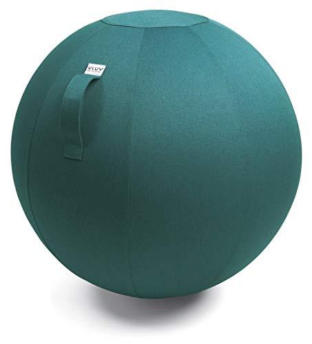 VLUV LEIV Stoff-Sitzball, ergonomisches Sitzmöbel für Büro und Zuhause, Farbe: Dark Petrol (blau-grün), Ø 60cm - 65cm, Möbelbezugsstoff, robust und formstabil, mit Tragegriff -