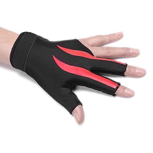 jiele Elastischer Lycra 3 Finger Showhandschuh und Billard Handschuh, für Mann und Frau, dehnbar, 3 Finger, rot