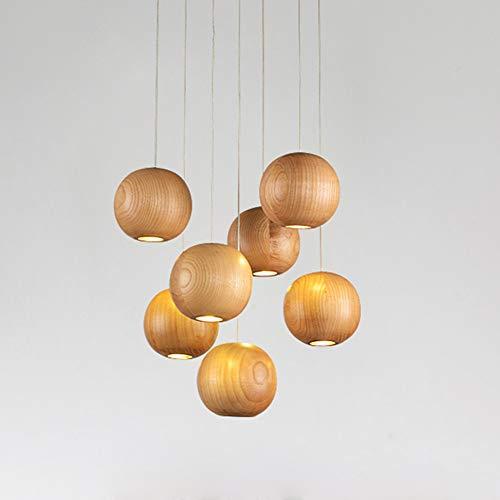 Kugel LED Pendelleuchte aus Holz, Mehr-Flammig Dekoration Treppe Lampe, Kreative Kugelpendel Kronleuchter, inkl. G4, 3W 300LM pro Glühbirne, Warm 3000K (7 lights) - 3-licht-moderne Pendelleuchte