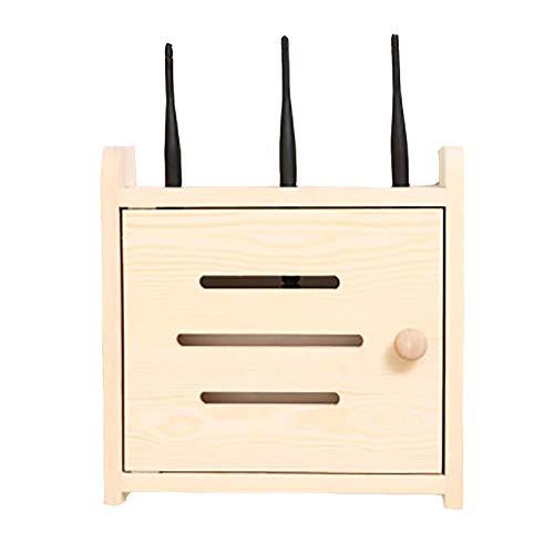 ZZYQ Wandmontiertes WiFi-Router-Rack, Holzfarbenes, Wandmontiertes Multifunktions-Lagerregal, Keine Löcher Erforderlich, FÜR Schlafzimmer, Wohnzimmer Und BÜRo Geeignet,S