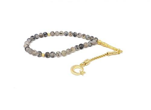 Gebetskette - Tesbih 33 Perlen aus Achat grau mit Anhänger 'Mond mit Stern' - Gold Farbe