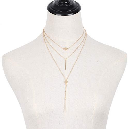 ICNCVKX Halskette Silber 925 ohne Anhänger Mehrschichtige Legierung Halskette der neuen Art und Weise Frauen hängende Kettenschmucksachen ()
