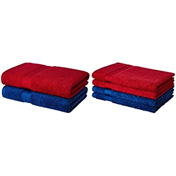 Amazon Brand - Solimo 100% Cotton 2 Piece Bath Towel Set, 500 GSM (Iris Blue and Spanish Red) and 100% Cotton 4 Piece Hand Towel Set, 500 GSM (Iris Blue and Spanish Red) Combo