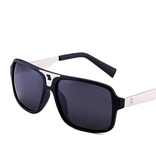 Easy Go Shopping Unisex Retro Square Casual Sonnenbrillen, UV400 Verspiegelte Gläser Sonnenbrillen Sonnenbrillen und Flacher Spiegel (Farbe : Dark Grey/matt Black)