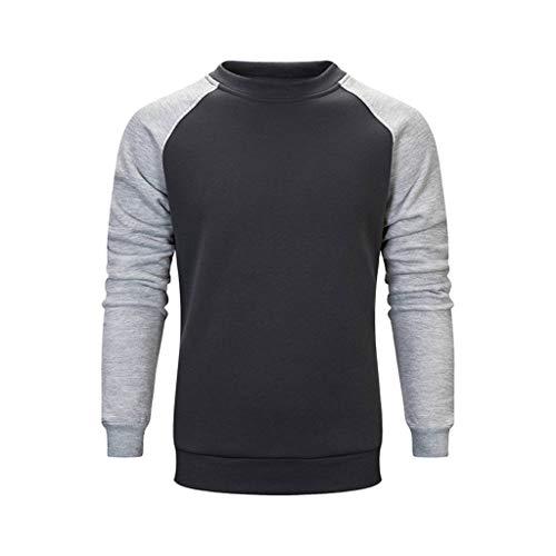 Aoogo Herren beiläufige nähende Paar-Strickjacke Patchwork Langarm Kapuzenpullover Herbst-und Winter Modetrend Sport Sweatshirt
