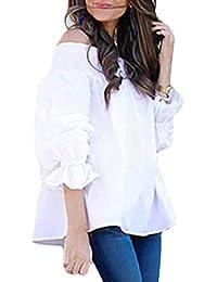 Primavera y Otoño Top Mujeres Cuello Barco Camisetas de Manga Larga Blusa Joven Moda Espalda Corbata