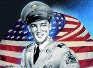 Elvis Presley Soldat mit Flagge magnete metallo piatto Nuovo 6x8cm (Elvis Presley Tin)