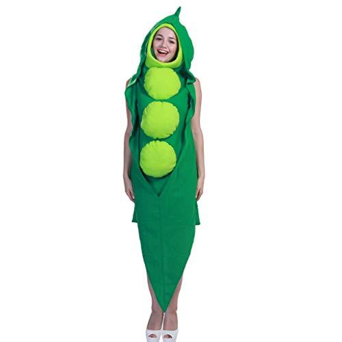 TINGSHOP Erwachsene Erbsen Kostüm, Erbsenabendkleid Siamese Abendkleid Kleidung Halloween-Cosplay Bühnen Leistung Halloween Weihnachten Karneval Rollenspiele Party, Grün