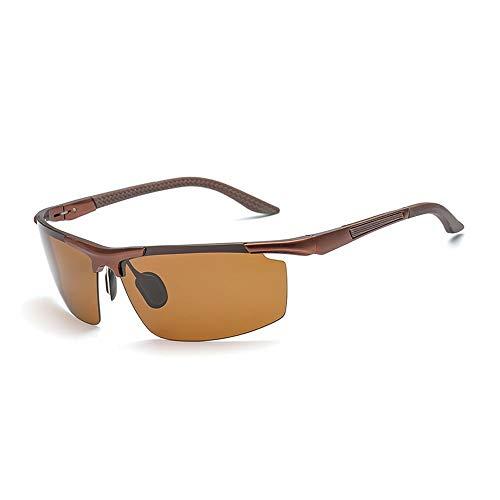 Männer Mode Sport Half Frame Angeln Drivinf Brille UV-Schutz Polarisierte Sonnenbrille Für Brille (Color : Braun)