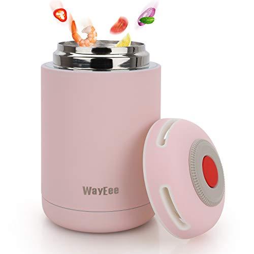 Thermobehälter 460ml Edelstahl Warmhaltebox Speisebehälter BPA freier Isolierbehälter Thermo Gefäß für Babynahrung Speisegefäß für Kinder Erwachsene Brotdose Schule Camping im Freien(Rosa)