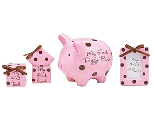 4 Piece Baby Girl Gift Set With Piggy Bank,First Curl, First Tooth,Photo Frame.Great Keepsake Gift by Flowers and Balloons (Piggy Baby Bank)