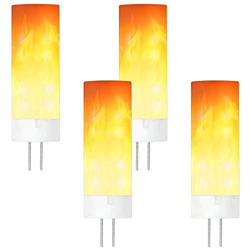 GRANVOO 4-er Pack G4 0.5W LED Flammen Lampe PC + Keramik Flammenfarbe 10lm 36X2835 SMD AC/DC 12V (Dc Nachtclubs Halloween)