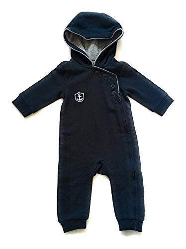9ff63b402a6210 ebbeundflut maritimer Baby-Anzug HAFEN CITY mit Kapuze - Babystrampler  dunkelblau grau