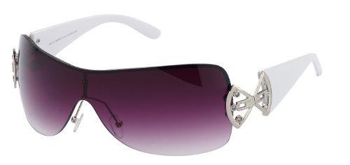 Damen Sonnenbrille mit Strass, Art. 9007-2, weiß / schwarz violett