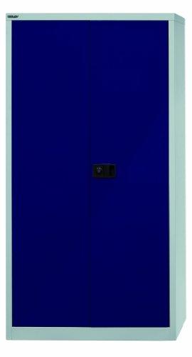 Bisley Aktenschrank | Werkzeugschrank | Flügeltürenschrank aus Metall abschließbar inkl. 3 Einlegeböden | Stahlschrank ist TüV/GS geprüft