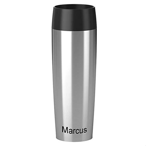Emsa Isolierbecher MIT Gravur (z.B. Namen) 500ml TRAVEL Mug Grande Manschette Edelstahl Silber mit persönlicher Rundgravur, Travelmug Kaffee & Tee Thermo to-go-Becher 100% auslaufsicher