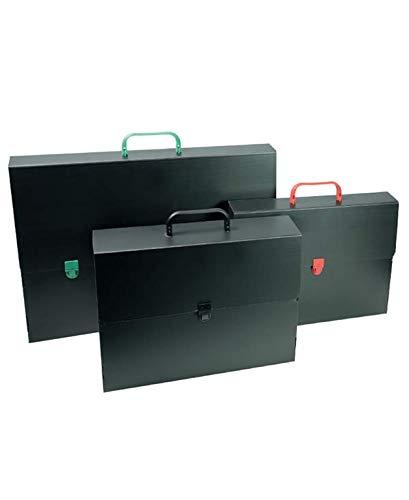 VALIGETTA polionda cartella portadocumenti portafogli nera con manico colorato mis. 28x38x5 cm
