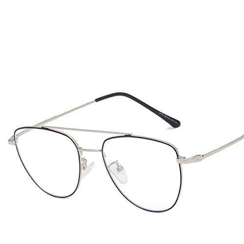 Mkulxina Trend Retro Metall Anti-Blau-Brille Unisex-Schutzbrillen Metall Runde Rahmen Anti-Blau Brille Trend Retro-Brille für Frauen Männer (Color : Black Silver)