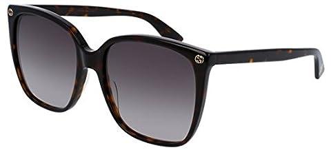 Gucci - GG0022S, Oversize, acetate, women, HAVANA/BROWN SHADED(003 N), 57/18/140