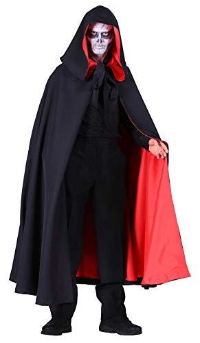 narrenkiste T2128-0105 schwarz-rot Damen Herren Halloween Umhang mit Kapuze Deluxe