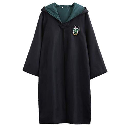 LOBTY Kinder Erwachsene Cosplay Kostüm Harry Potter Kostüm Umhang Film Fanartikel Outfit Set Zauberstab Krawatte Schal Brille Karneval Verkleidung Fasching - Slytherin Kostüm Kind
