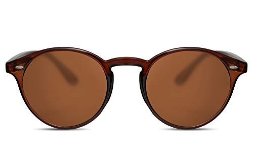 Cheapass Sonnenbrille Rund Rot-Braun Transparent UV-400 Vintage Festival-Brille Plastik Damen Herren