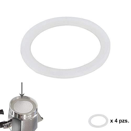 Oryx guarnizione caffettiera 2tazze a induzione, silicone, bianco, 9x 9x 3cm, 4pezzi