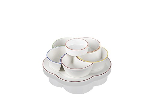 Evviva Iride Antipastiera, Porcellana, Bianco, 21