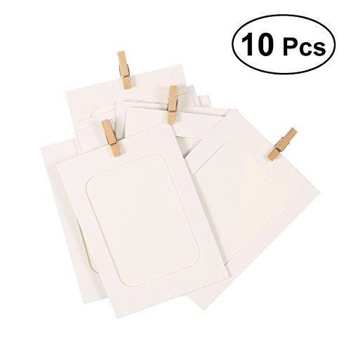 ROSENICE 10 stück Bilderrahmen hängend Photo Wäscheklammern Schnur DIY Wand Photo Deko für Hochzeit Dekoration Girlande (Weiß)